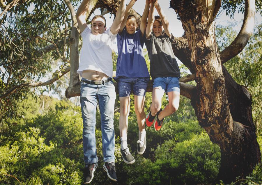 Teenage boys mucking around!