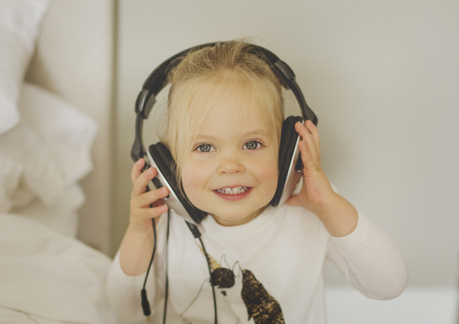 Big headphones on little toddler!