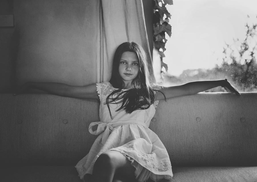 Black & White Portrait of Tween Girl