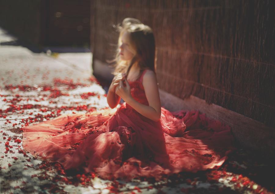 Freelensed image of Tween Girl in red dress!