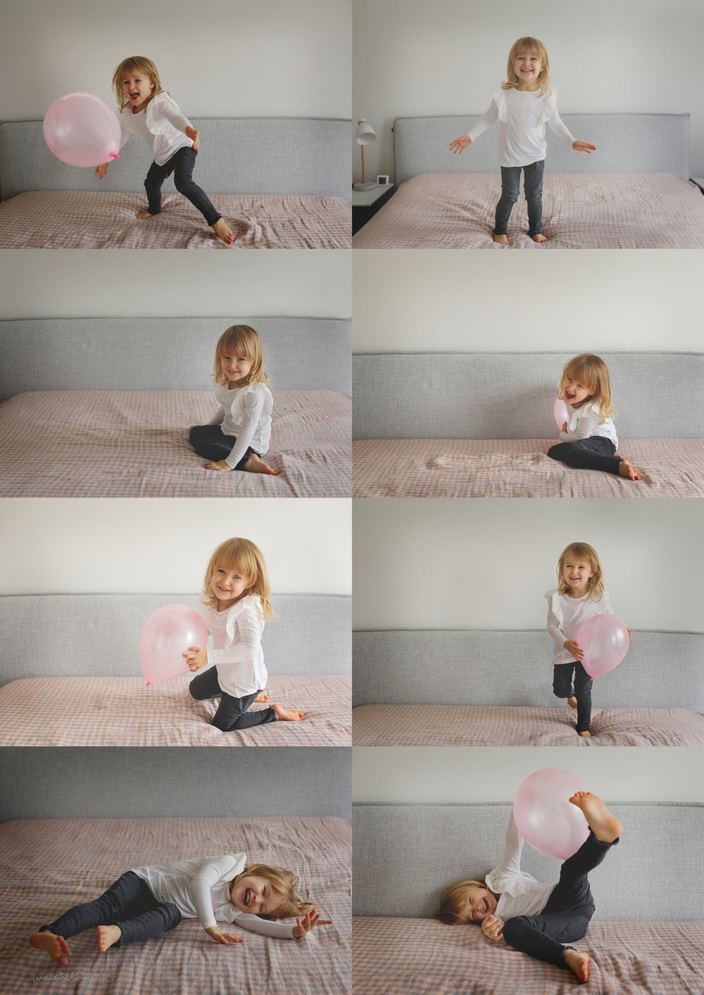 Little girl playing with her balloon!