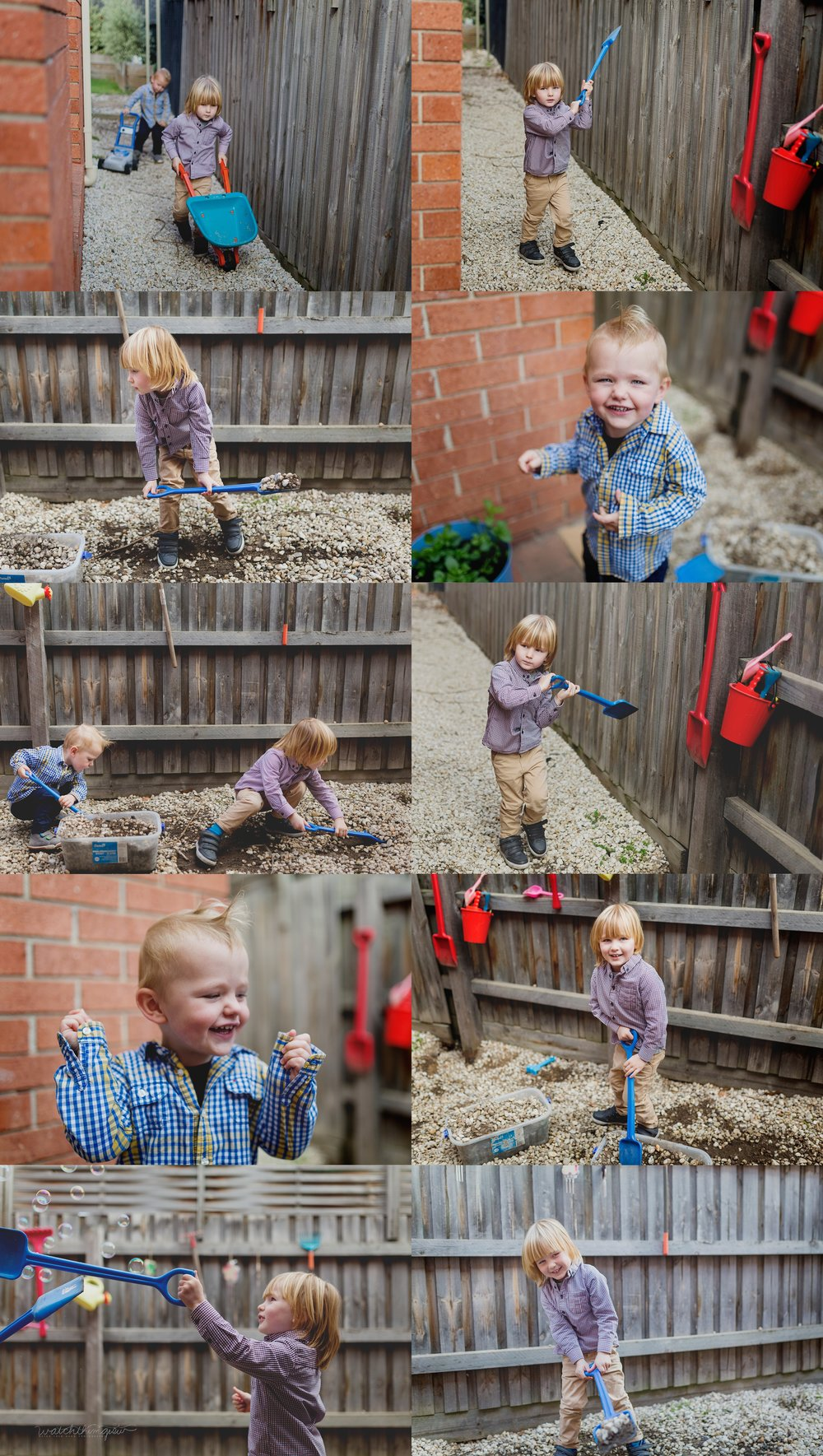 Young boys digging and playing in the garden!