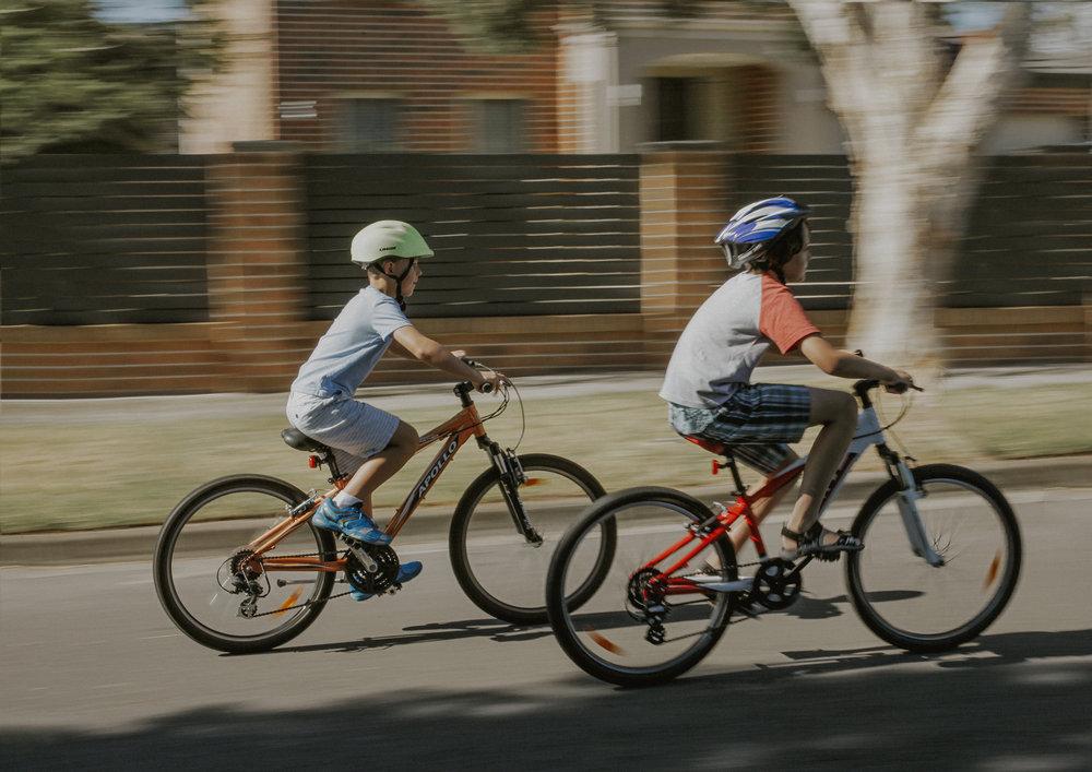 Boys riding their bikes!