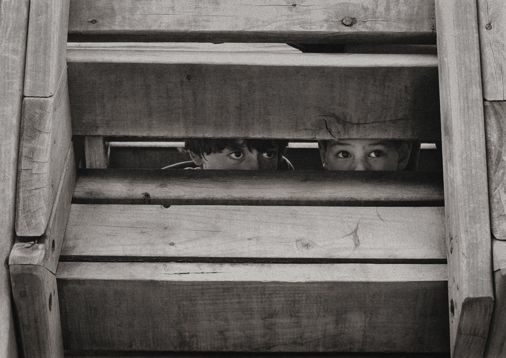 Boys playing hide and seek at the playground in Bayside