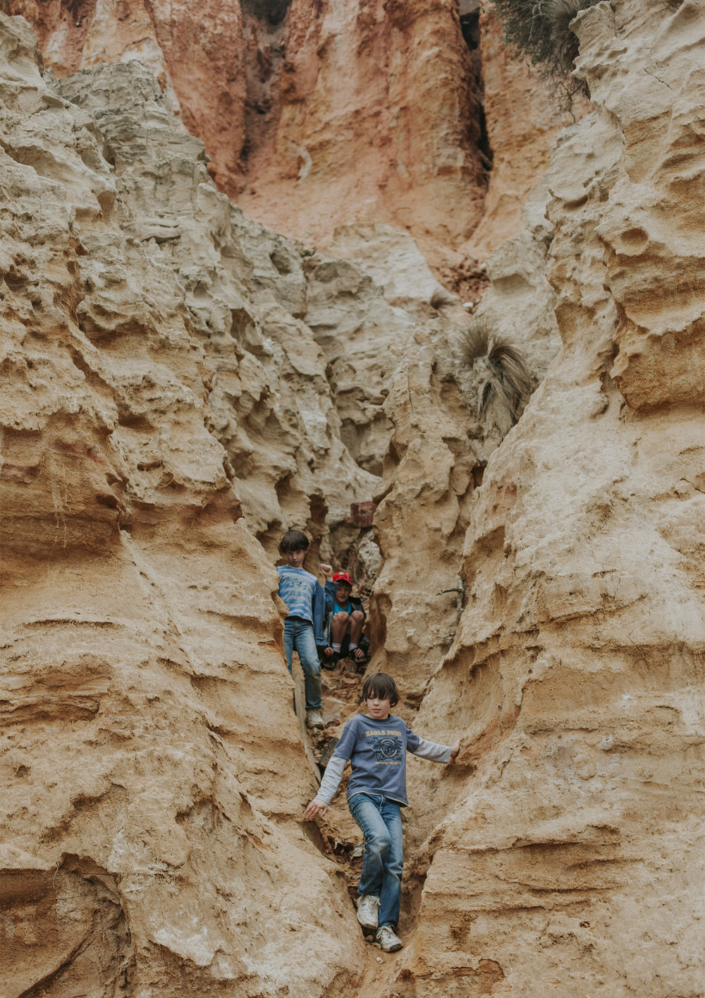 Boys playing in the cliffs at Sandringham beach
