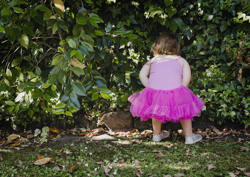 Toddler searching for fairies in the garden!