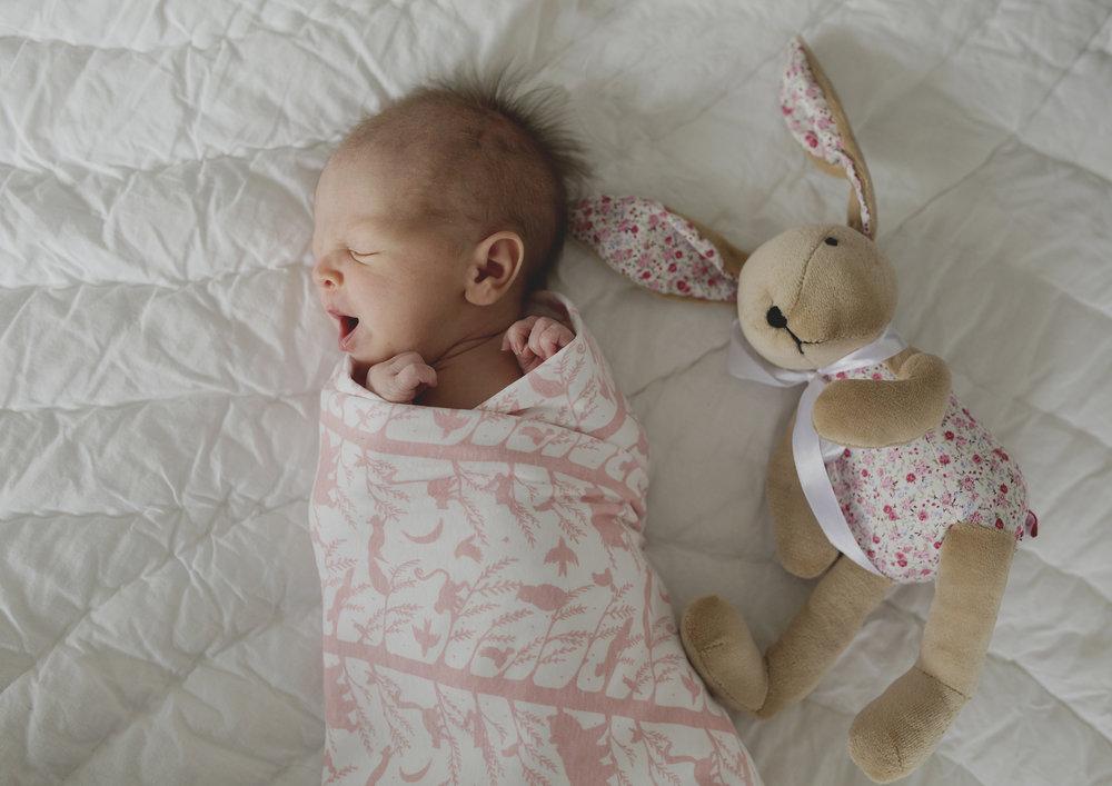 Newborn Baby Girl's yawns