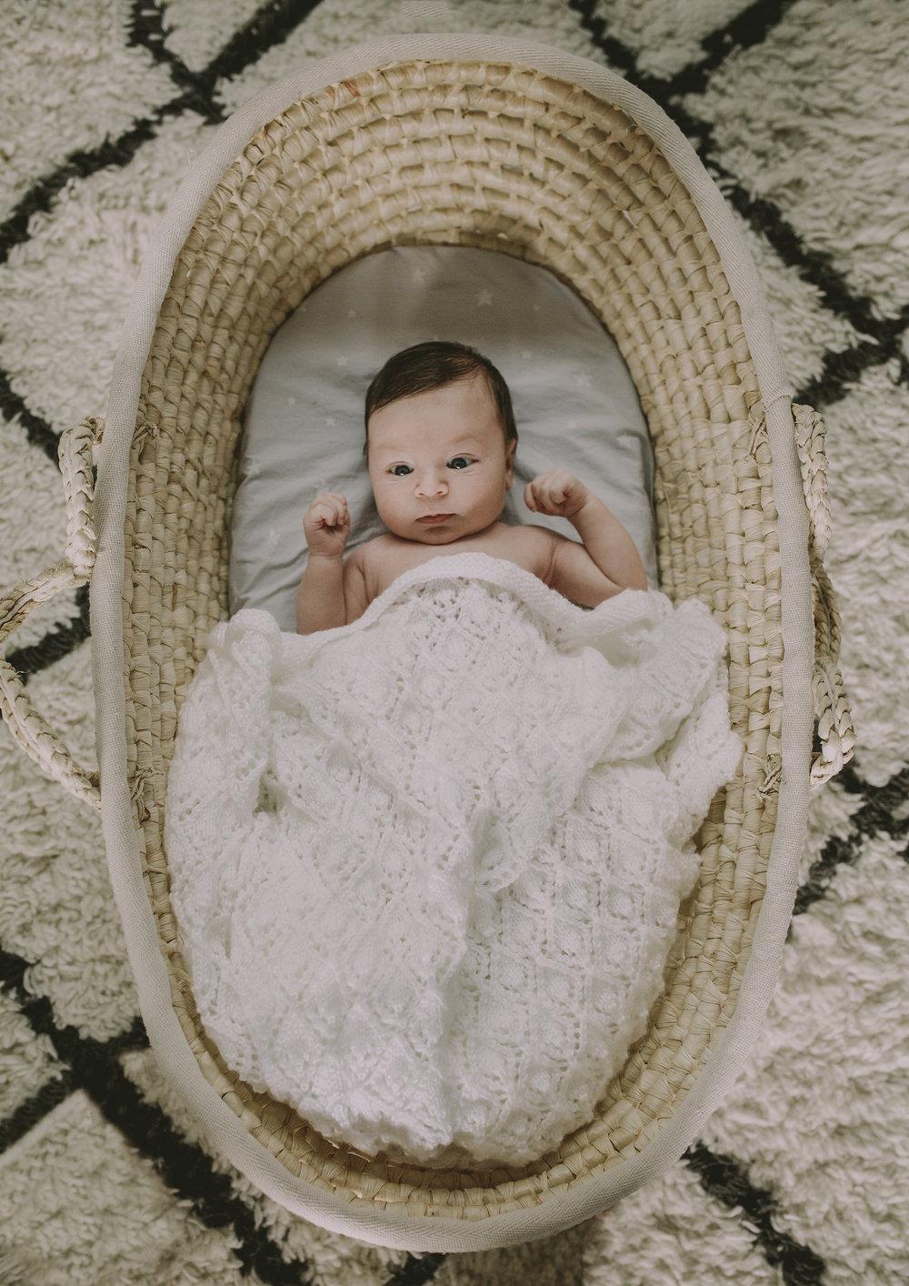 Newborn Baby Boy in his bassinet