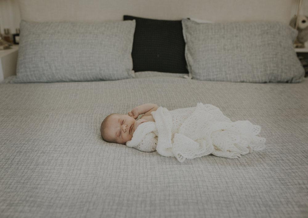 Newborn Baby Boy on the bed!