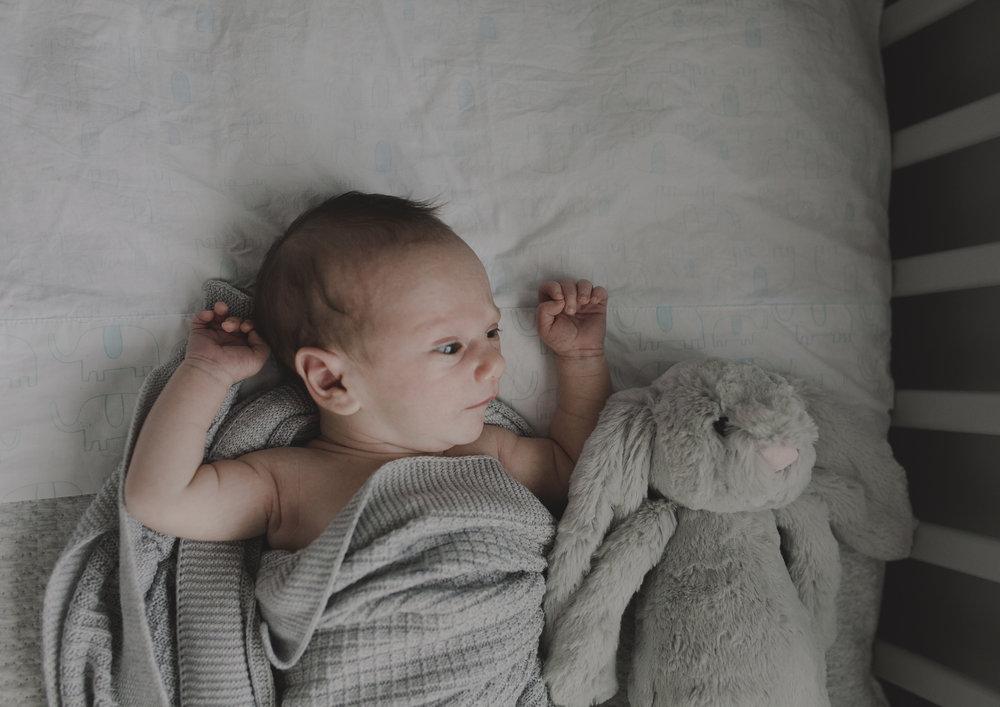 Newborn Baby Boy with his toy rabbit