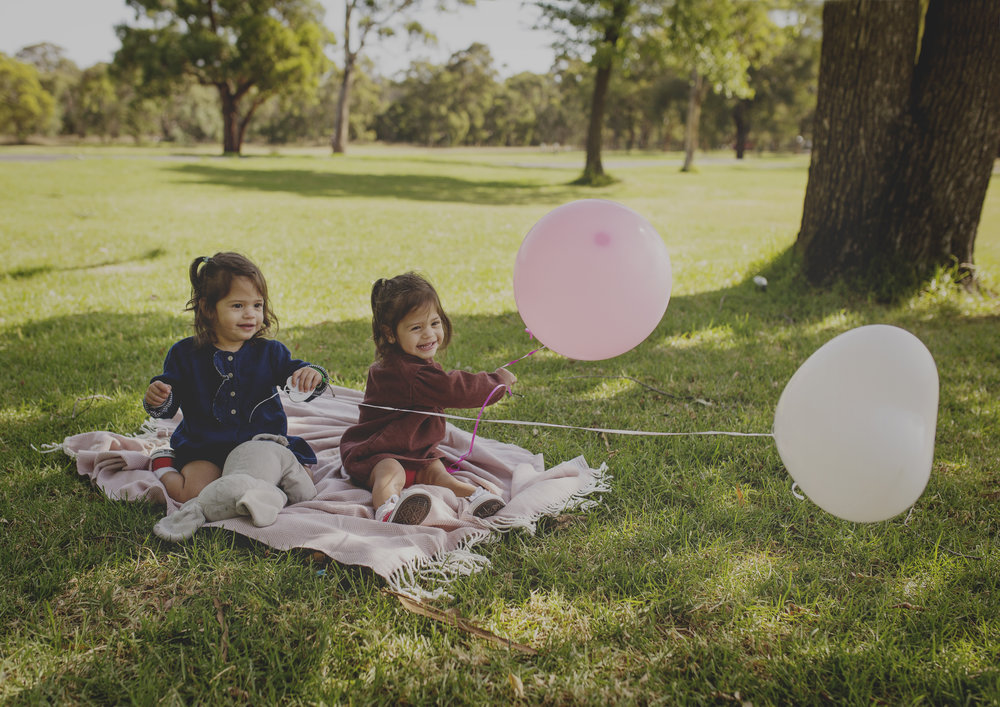 21 month old twin girls playing with balloons!