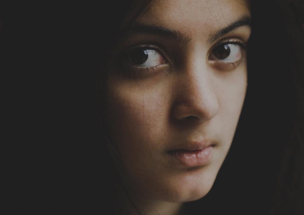 Close-up portrait of Tween girl