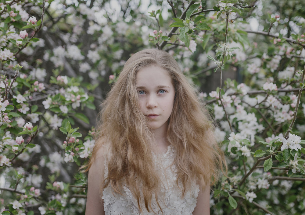 Tween girl in the blossom tree