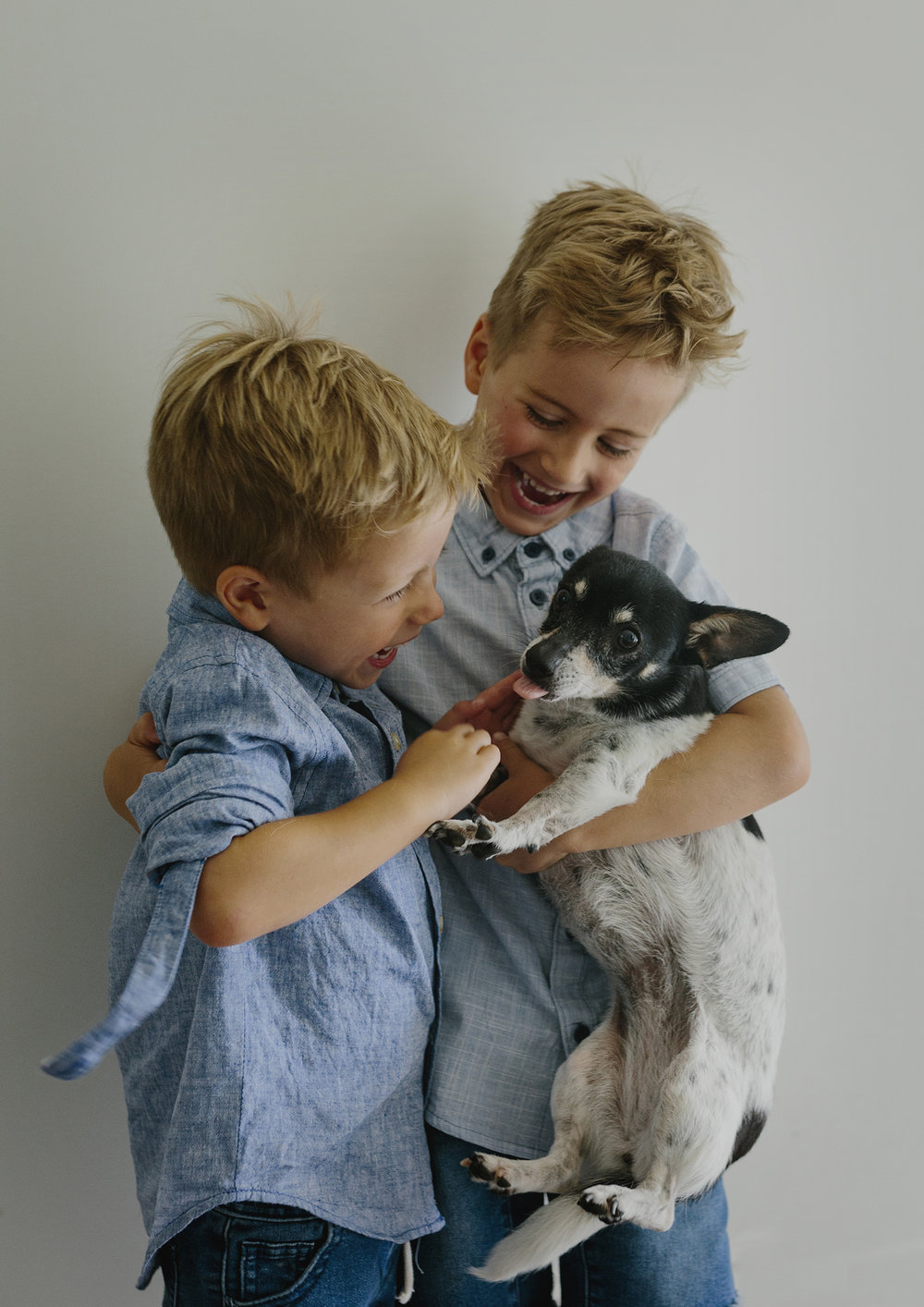 Brothers playing with their puppy dog