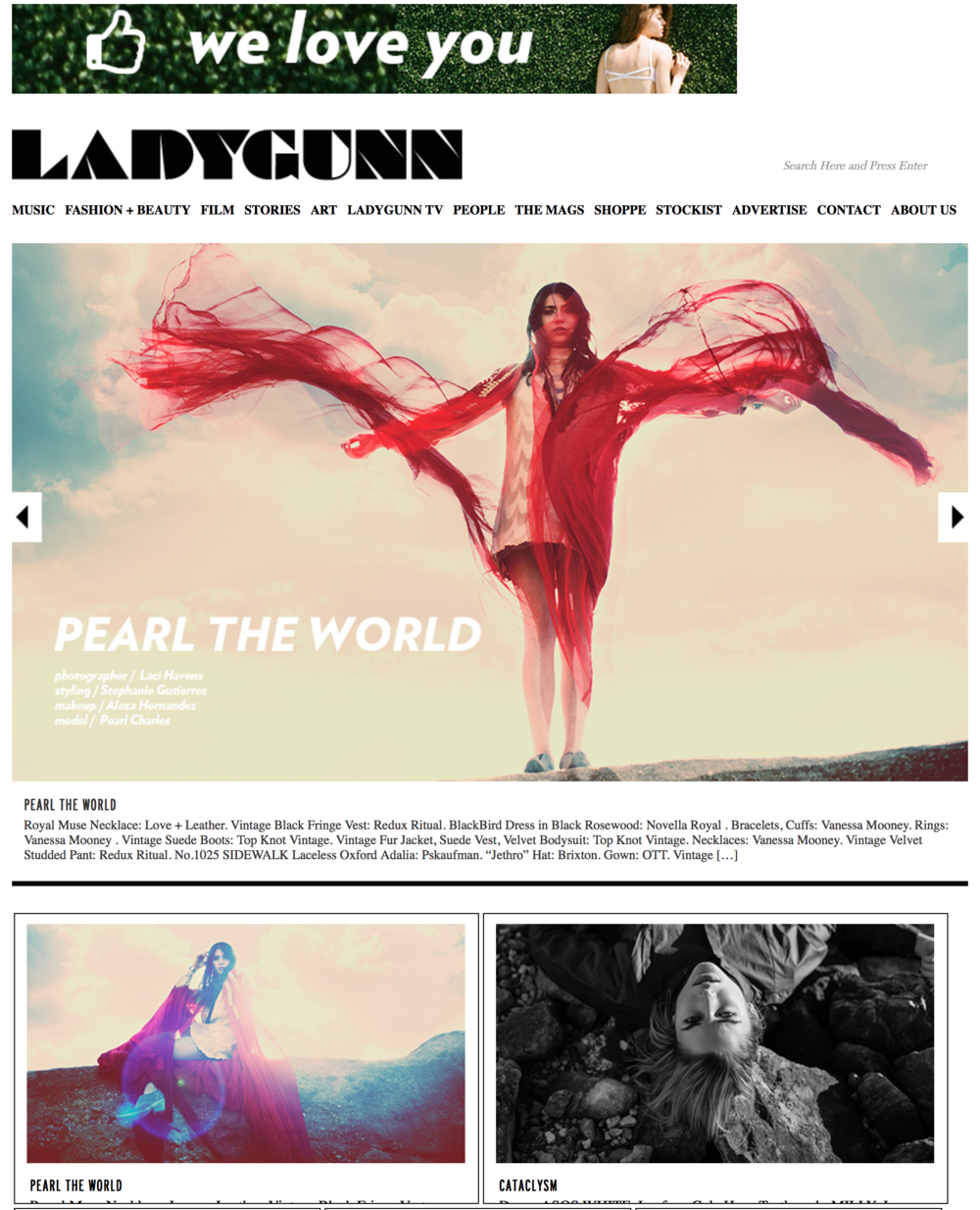 Pearl the World for Lady Gunn Magazine - 2015