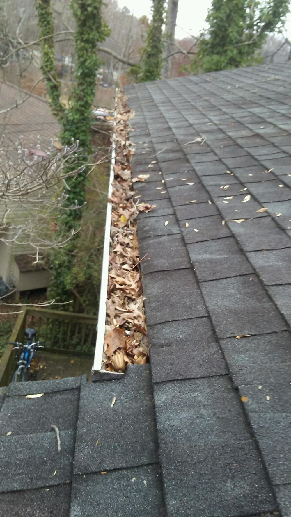 Image from the roof of a clogged gutter full of debris and leaves in Charlottesville