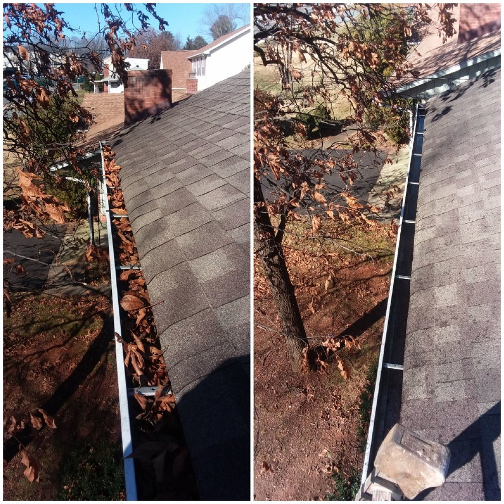 Image from the roof in Charlottesville showing a clogged gutter full of leaves next to an image of a gutter that is clean and ready for water flow.