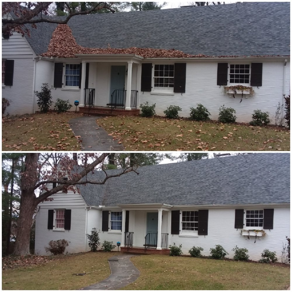 Image of before and after comparison of a house with leaves on the roof and clogged gutters alongside the house with clean roof and gutters in Charlottesville VA