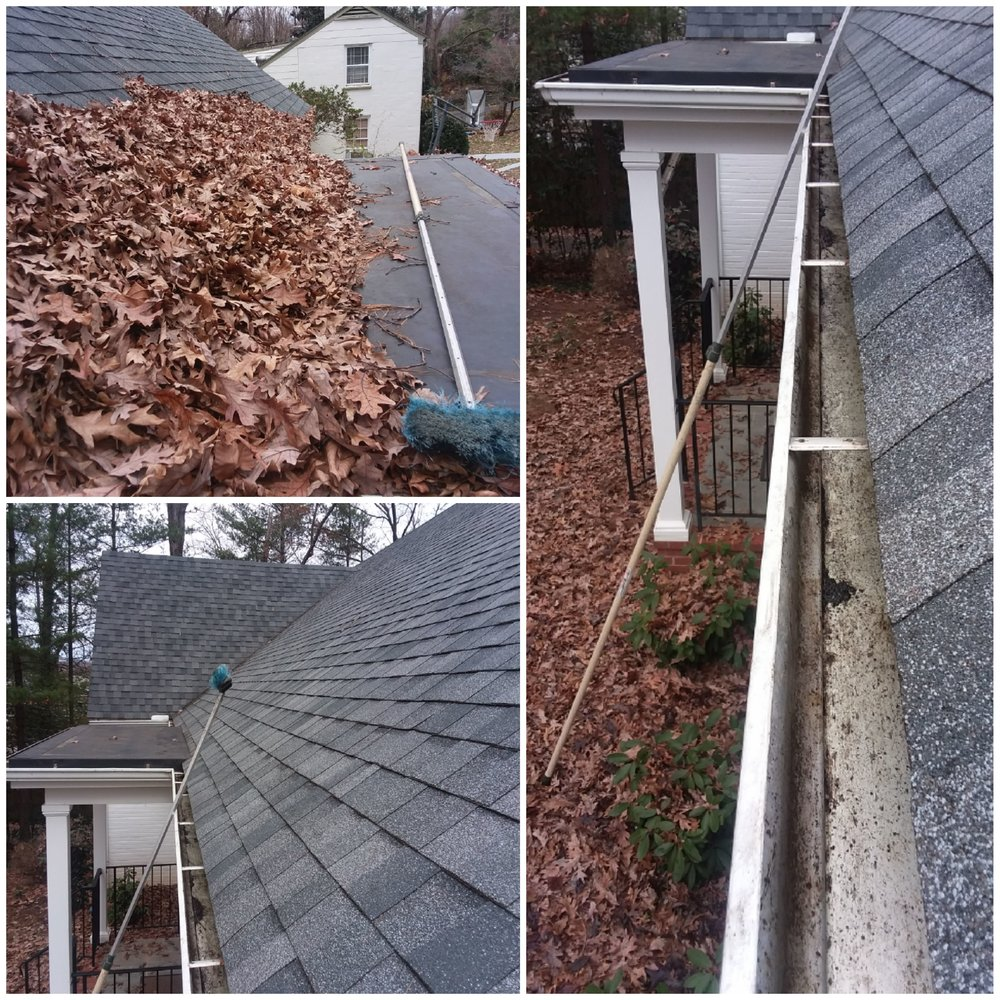 Image collage of leaves on roof and in gutters showing before and after when they're cleaned and unclogged.