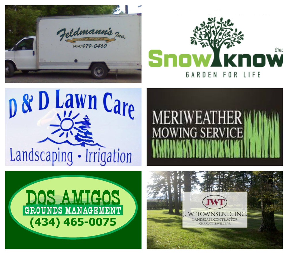 Image collage of logos of local lawn care companies including JW Townsend, Dos Amigos, D&D Lawn Care, Meriweather Mowing Service, Snow's Garden Center, and Feldmann's Inc featuring Charlottesville Lawn Care.