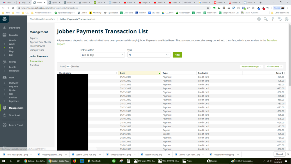 Jobber Payment Transactions tab: Jobber's payments shown here. Next image is the Transfers tab.