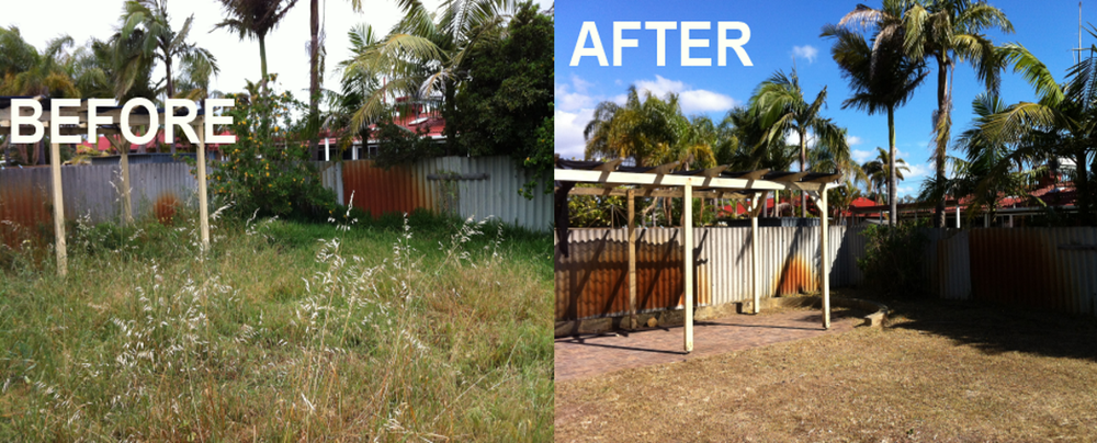 Image of side by side before and after photos of really overgrown yard and the same yard cleaned up and under control.