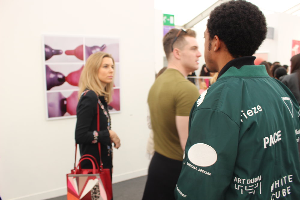 Baba Ali Frieze London 2017. Green Jacket