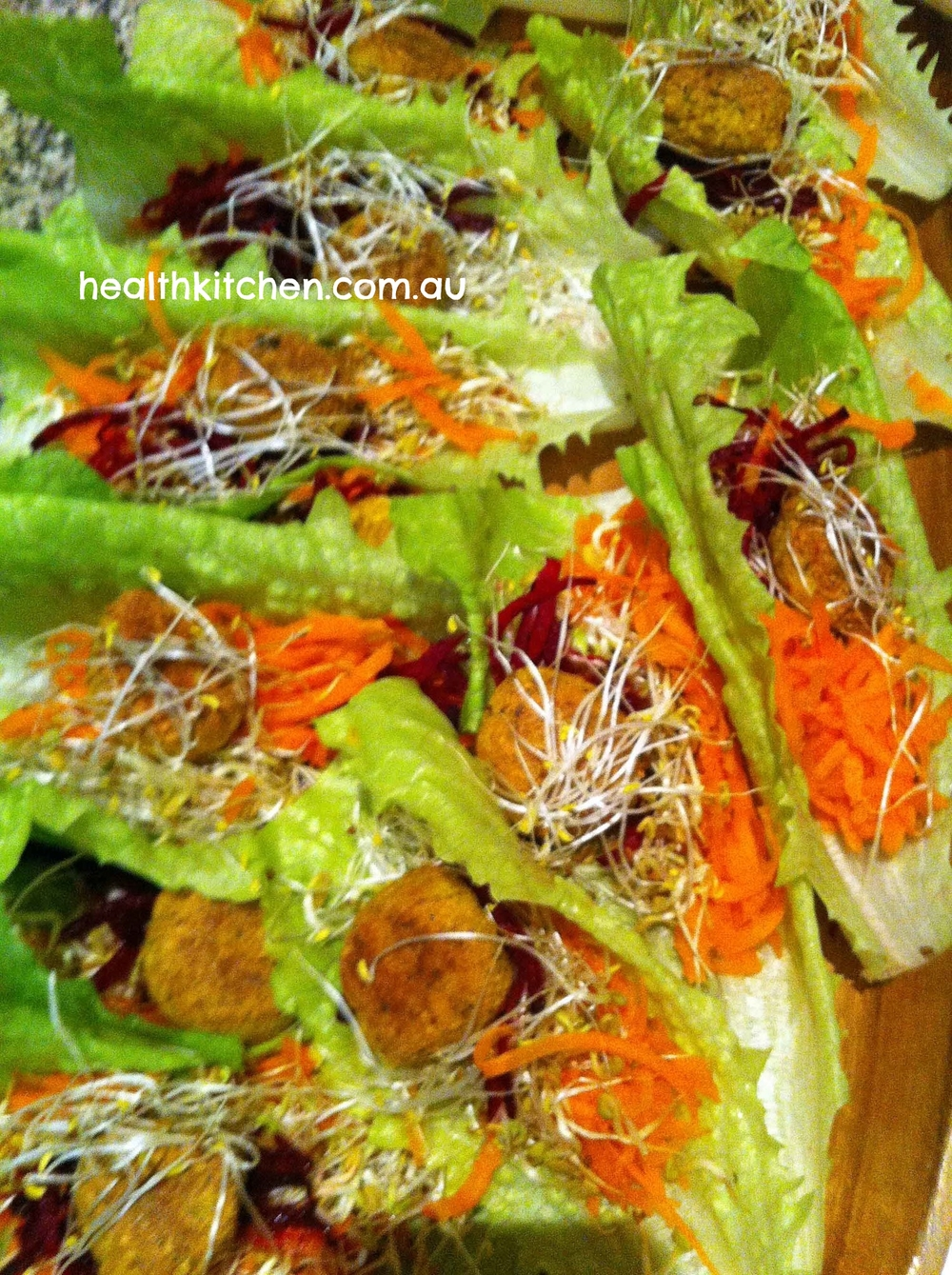 Cos lettuce, tofu balls & salad boats for a bottle & plate night went down well