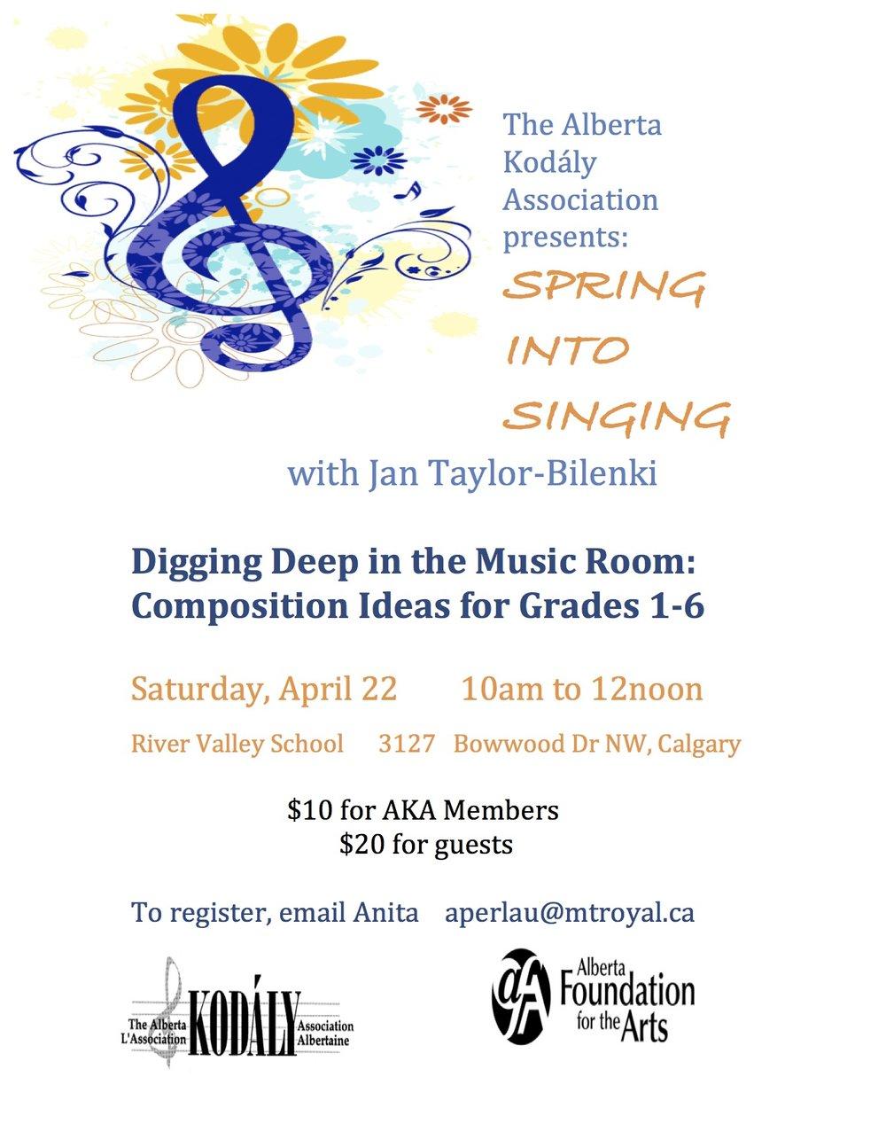 News events the alberta kodly association spring into singing calgary aiddatafo Choice Image