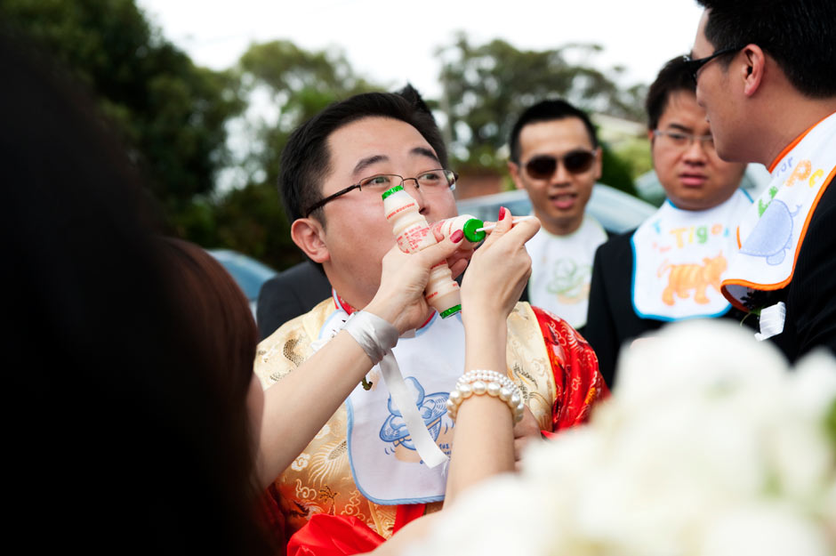 The groom has to pass some challenges to gain access to his bride