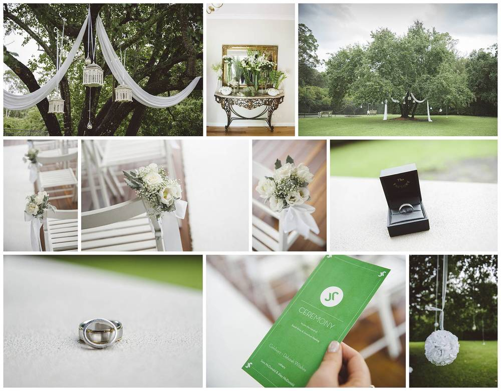 Some of the details of ceremony location in Jonathon's backyard.