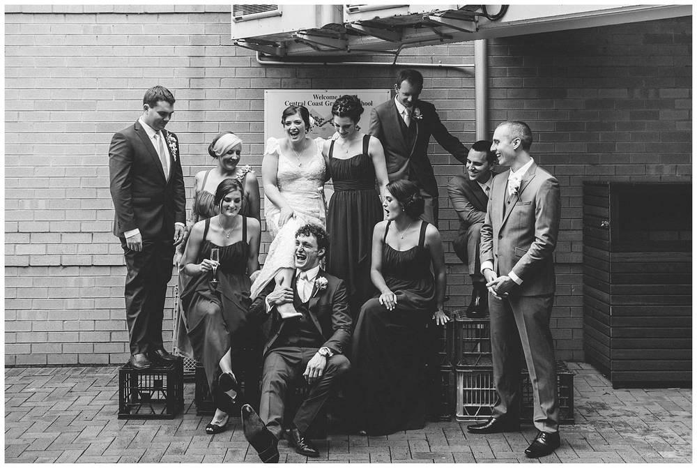 crazy wedding party photo