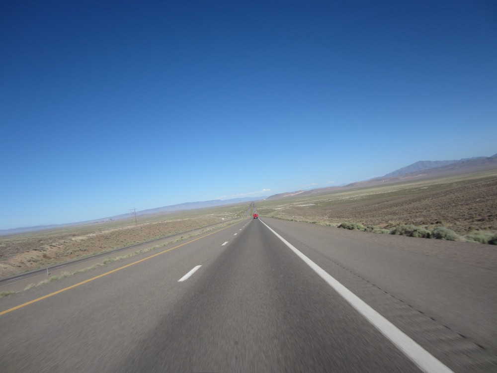 The open road before us, somewhere in the American southwest.