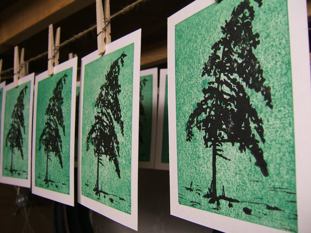 Tree Linoleum Block Print