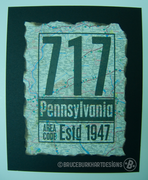 717 Area Code Wood Block Print