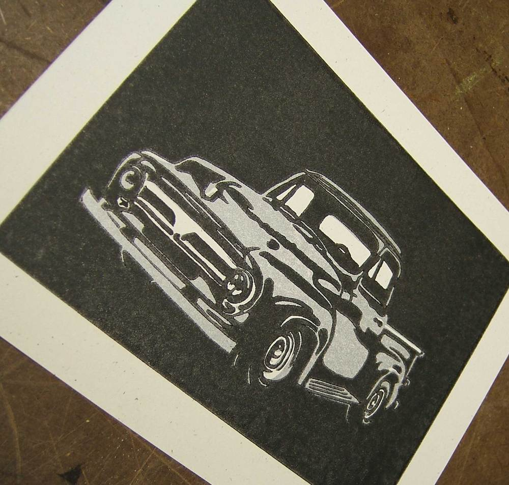 1955 Ford Pick Up Truck Linoleum Block Print