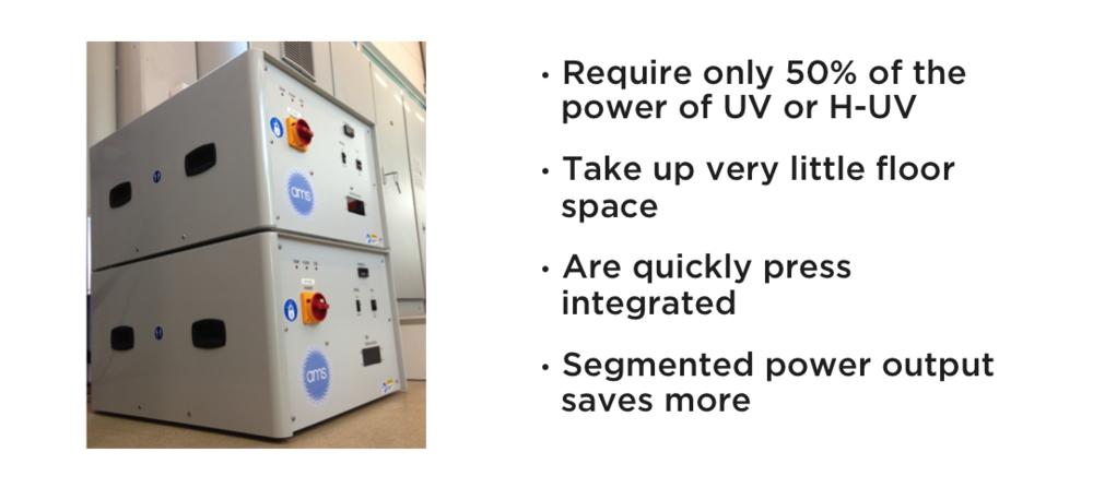 •Require only 50% of the power of UV or H-UV •Take up very little floor space •Are quickly press integrated •Segmented power output saves more