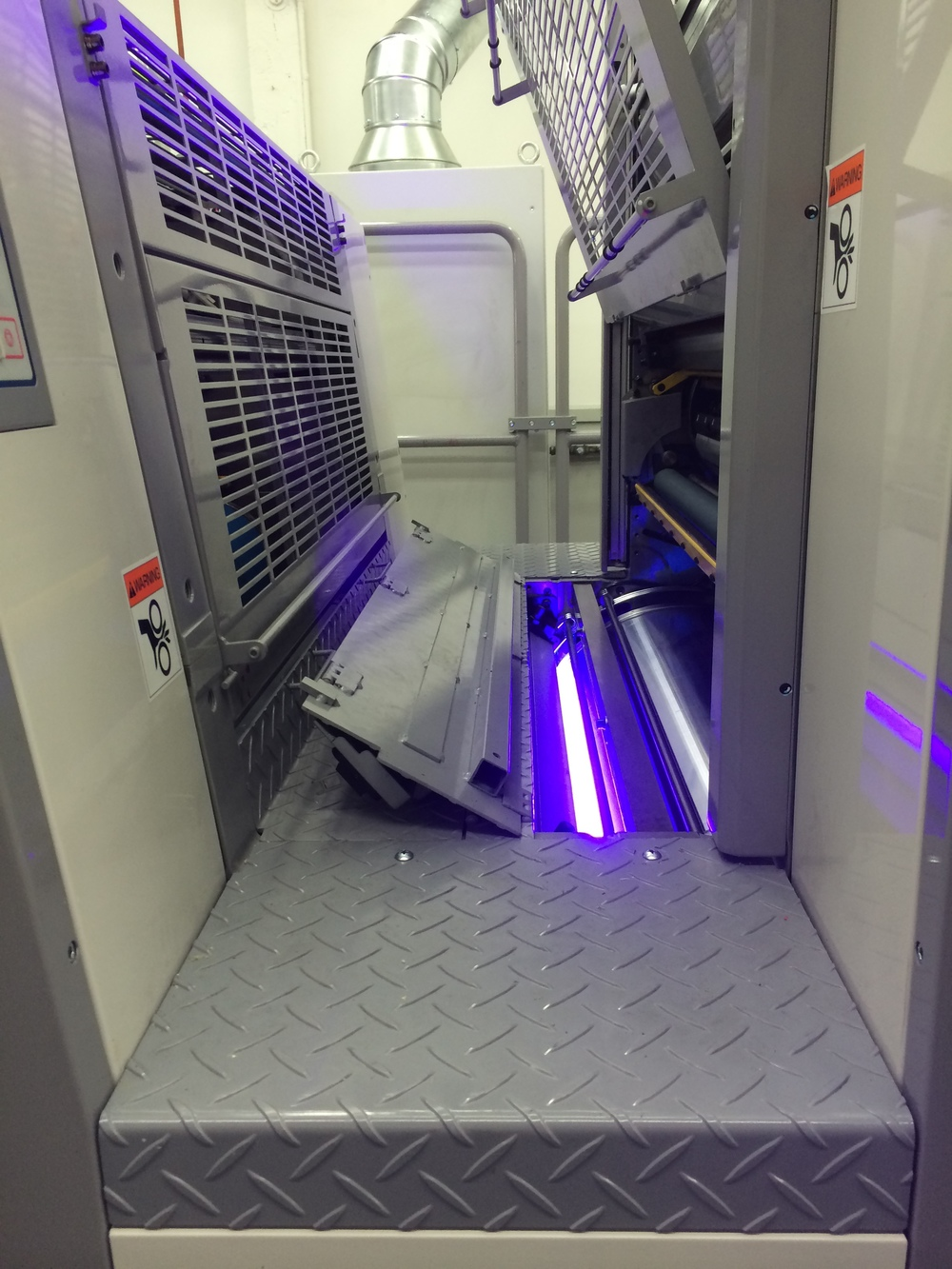 AMS XP7 Series LED UV Module Shown Installed in an Interdeck Location on a Sheetfed Offset Press