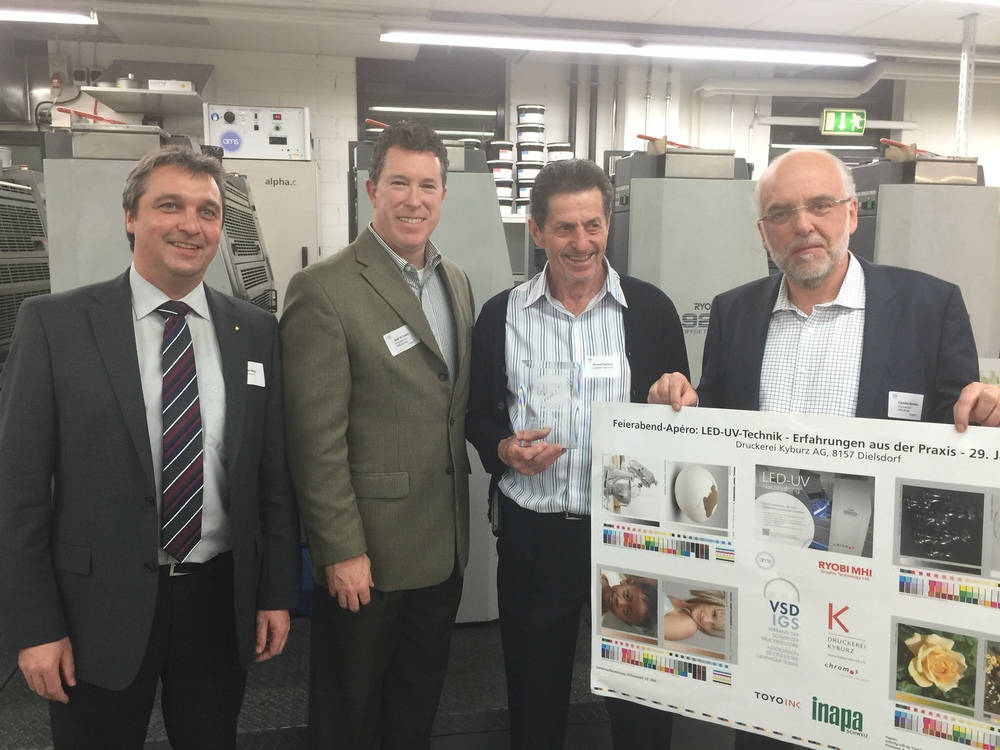 Pictured Left to Right: Heinrich Maag, Chromos AG, Joel O'Leary, AMS, Konrad Kyburz, Druckerei Kyburz, Carsten Barlebo, AMS Europe