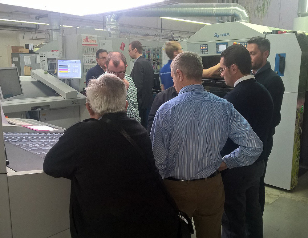 Spanish customers at Koenigsdruck, in Germany seeing and believing the final product with AMS LED UV.