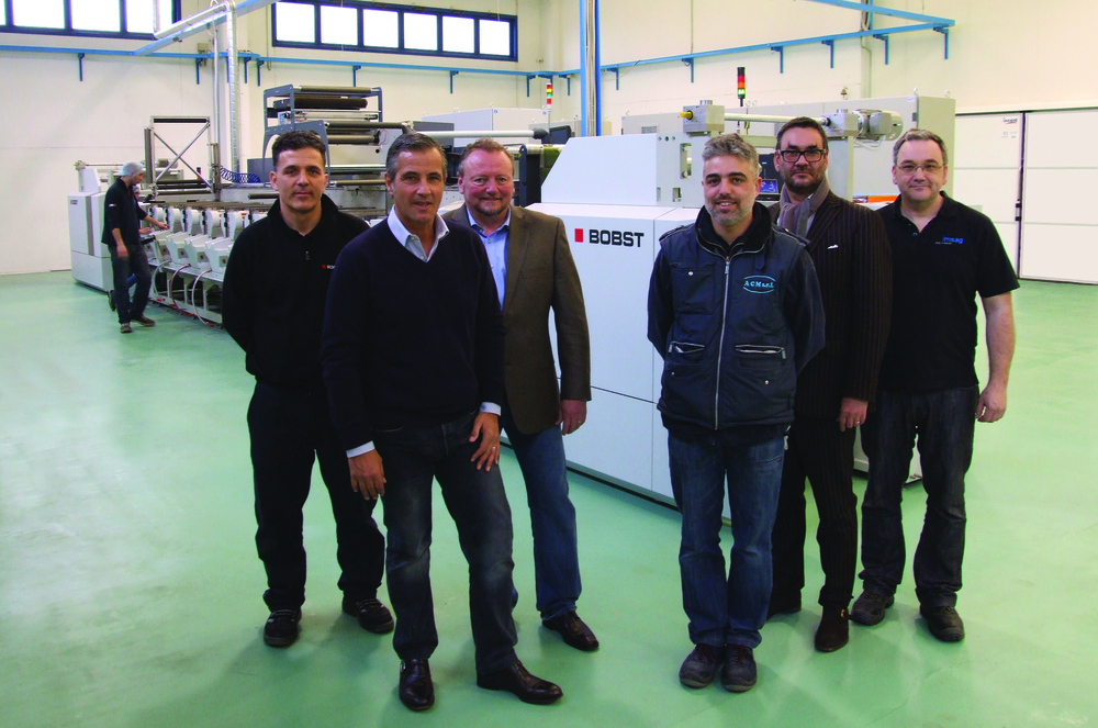 ACM's new 9-colour 670mm Bobst M5 narrow web flexo press with AMS LED UV curing. The Commissioning Team, from left: Aurelian Dunitrescu, Bobst Service, Paolo Nascimbeni, AMS European Sales, Andy Ross, AMS VP of Worldwide Service, Alessandro Comanduli, ACM, Marco Mastandrea, Flint Group Narrow Web Sales Director, Matthias Bärtschi AMS/imsag Service Technician.