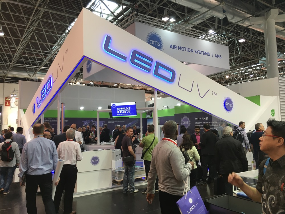 The AMS Stand in Hall 14 was often standing-room only as visitors from numerous countries witnessed the unique power of LED UV printing displayed on a wide range of brilliantly printed samples.