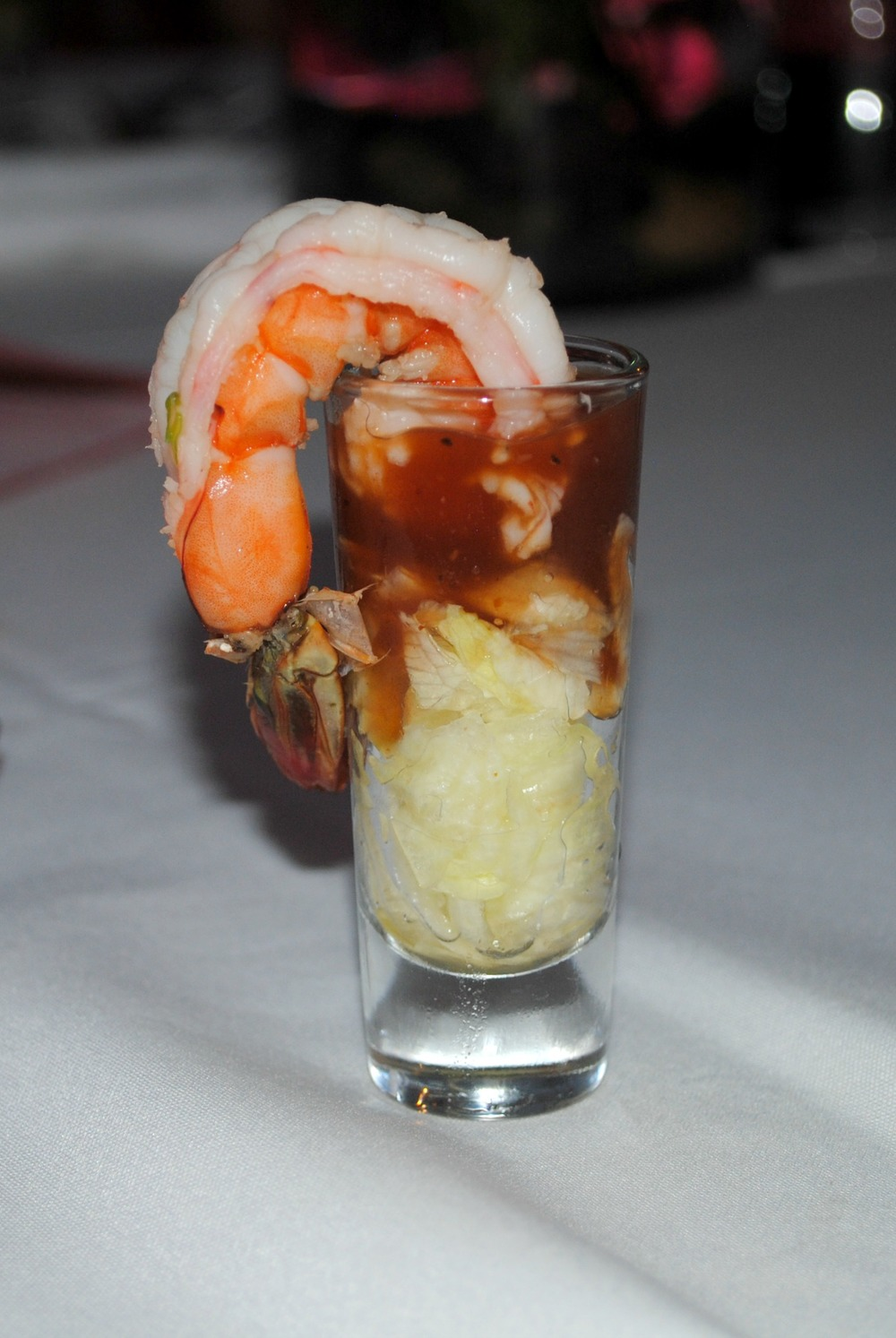 """prawn shot with lettuce"""