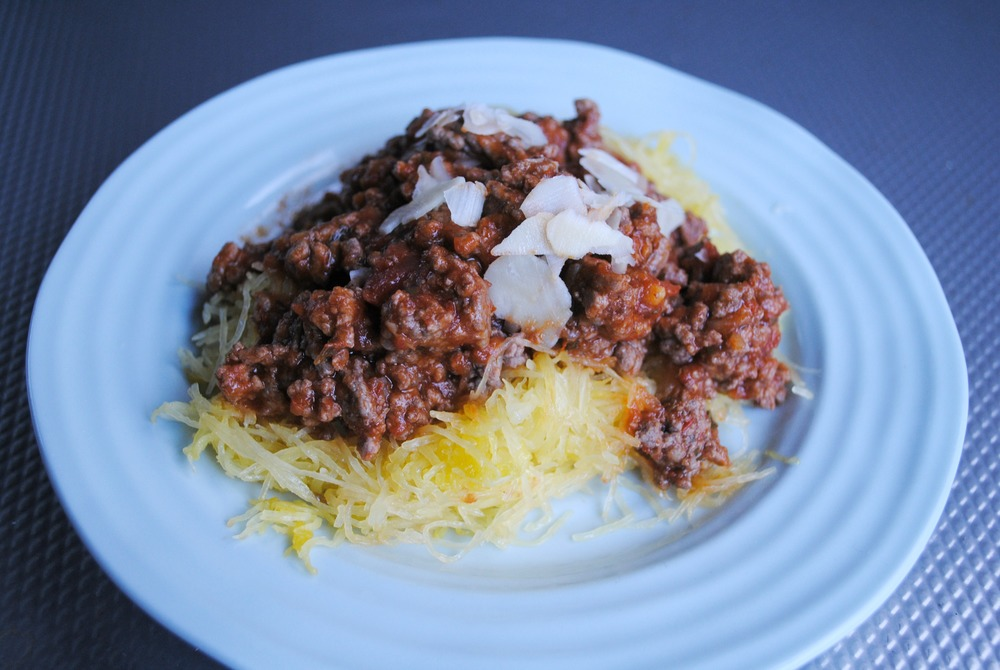 Spaghetti squash with a simple marina meat sauce