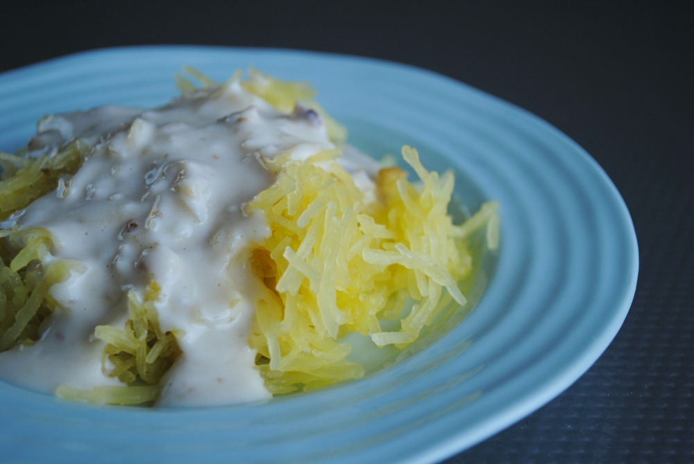 Spaghetti squash with a walnut cream sauce picked up from  Duso's on Granville Island