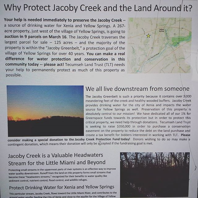 Save Jacoby Creek! Auction on March 16, 2017. Visit https://www.indiegogo.com/projects/2059269/fblk?ref=gogo__fblk__16220399 to donate!