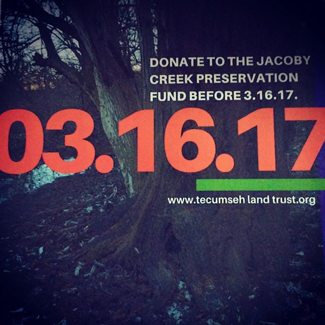 On March 16, 267 acres will go to auction. On March 16, Jacoby Creek will sell. Yellow Springs water comes from this creek. Fish and vegetation around the creek will be impacted by this auction! Please donate to Tecumseh Land Trust and help us #savejacobycreek . . .  For more information, visit tecumsehlandtrust.org or search for the Arnovitz property on ohiorealestateauctions.com  #yellowsprings #preservation #savejacobycreek #auction #nosprawl