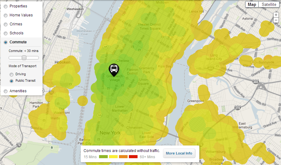 Everywhere you can go from Greenwich Village by public transport in under 30 minutes.  Colors indicate travel time.
