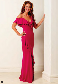 Dylan Lauren wear a Magenta Off the Shoulder Ruffle Front Gown by Ralph Lauren Collection. White Diamond with Pink Sapphire Drop Boule Earrings and White Diamond with Pink Sapphire Boule Ring, both by de Grisogono.