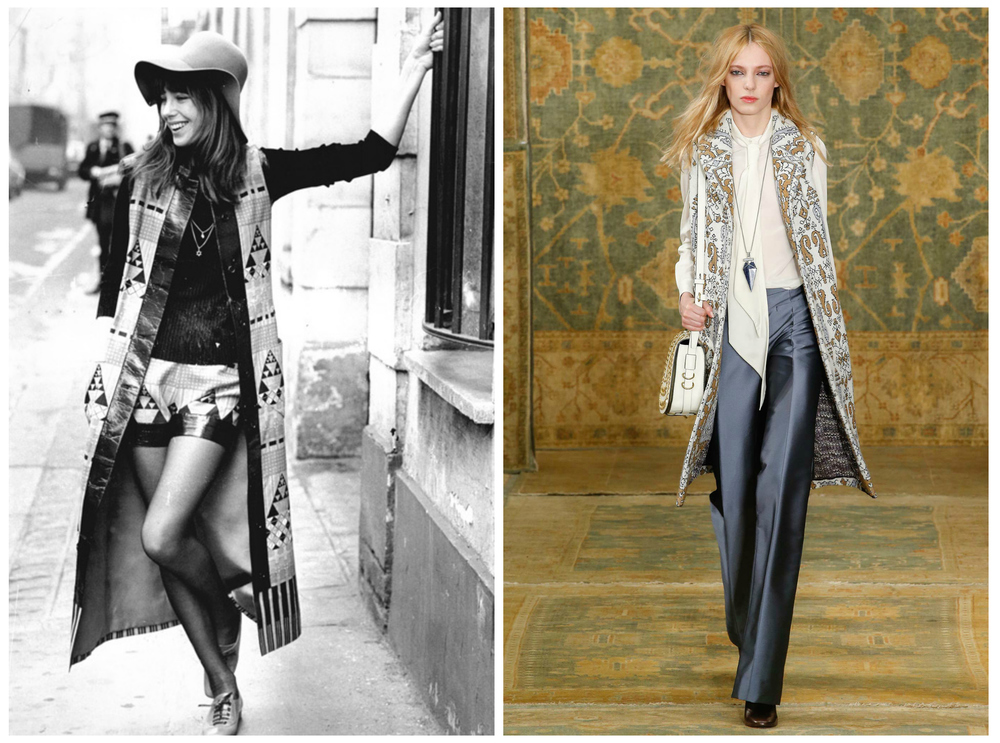 From left to right: Jane Birkin wearing Lanvin for French Vogue 1971 and Tory Burch Fall 2015 collection for New York Fashion Week.